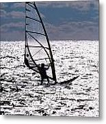 windsurfer rides the water at West Dennis Beach on Cape Cod Metal Print