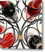 Wine Bottles In Curved Wine Rack Metal Print