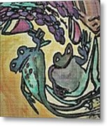 Wine Frogs Blended Not Stirred Metal Print