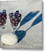 Wine Glass With Grapes Metal Print