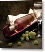 Wine With Grapes And Glass Still Life Metal Print
