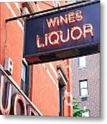 Wines And Spirits Sign Metal Print