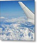 Wings Of Flying Airplane Over French Alps Metal Print