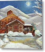 Winter At The Cabin Metal Print