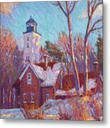 Winter At The Lighthouse Metal Print