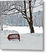 Winter Beach Sign Metal Print by Aimee L Maher Photography and Art Visit ALMGallerydotcom