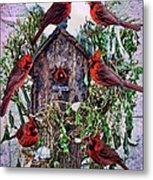 Winter Birdhouse Metal Print