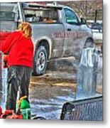 Winter Fest Ice Sculpting Metal Print