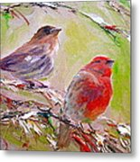 Winter Finches Metal Print