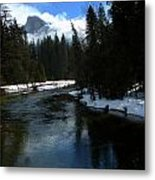 Winter Half Dome And The Merced River Metal Print by Jeff Lowe