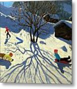 Winter Hillside Morzine France Metal Print