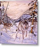 Winter Hunt Metal Print