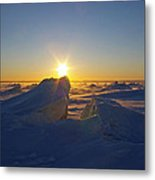 Winter Ice Ridge Churchill River Manitoba Metal Print