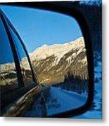 Winter Landscape Seen Through A Car Mirror Metal Print