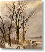 Winter Landscape With Faggot Gatherers Conversing On A Frozen Lake Metal Print