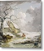 Winter Landscape With Men Snowballing An Old Woman Metal Print