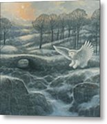Winter Landscape With Owl Metal Print by Marte Thompson