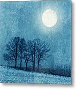 Winter Moon Over Farm Field Metal Print
