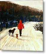 Winter Road Quebec Laurentian Landscape Metal Print