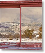 Winter Rocky Mountain Foothills Red Barn Picture Window Frame Ph Metal Print