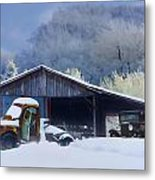 Winter Shed Metal Print by Ron Jones