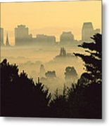 Winter Smog Over The City Metal Print