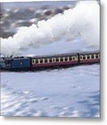 Winter Steam Train Metal Print