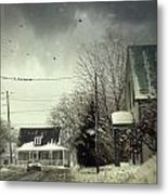 Winter Street Scene With A Car In A Small Town  Metal Print by Sandra Cunningham