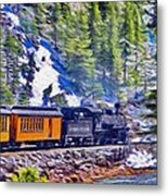 Winter Train Metal Print