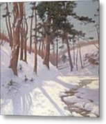 Winter Woodland With A Stream Metal Print
