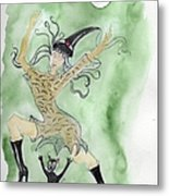 Witches Dance With Cats On Halloween Metal Print
