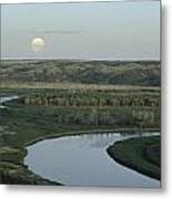 With A Full Moon Rising, The Meandering Metal Print