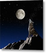 Wolf Howling At Moon Metal Print