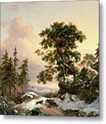 Wolves In A Winter Landscape Metal Print