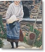 Woman Baking Bread  Metal Print