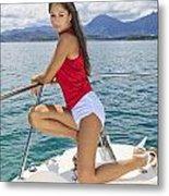 Woman Boating At Kaneohe Metal Print