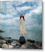 Woman By The Sea With Arms Reaching Up In Praise Metal Print