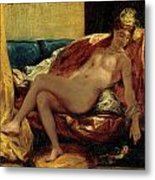Woman Caressing A Parrot Metal Print by Eugene Delacroix