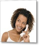 Woman Chatting On A Phone Metal Print