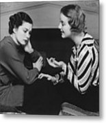 Woman Consoling Friend At Fireplace, (b&w) Metal Print