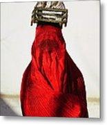 Woman Draped In Red Chadri Carries Metal Print