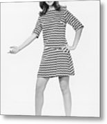 Woman Gesturing In Studio, (b&w) Metal Print by George Marks