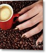Woman Hand Holding A Cup Of Latte Metal Print