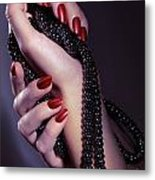 Woman Hands Holding Jewelry Metal Print