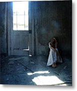 Woman Hiding In Abandoned Room Metal Print