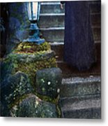 Woman In Dark Gown On Old Staircase Metal Print