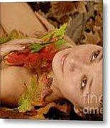 Woman In Fallen Leaves Metal Print