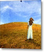 Woman In Field Looking Up At An Airplane Metal Print
