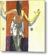 Woman In Gown French Doors Metal Print