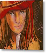 Woman In The Red Hat Metal Print